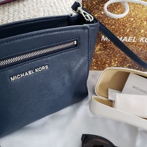 Michael Kors Bags - Michael Kors Navy Leather Purse and Sunglasses